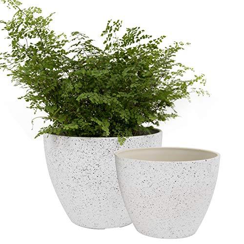 LA JOLIE MUSE 植木鉢 プランター ポット 2個セット 排水穴つき 先細 屋外 屋内 斑点 ホワイト