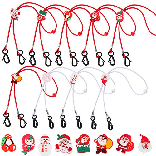 9pcs Christmas Adjustable Kids Face Mask Lanyard- Xmas Mask Chain Holder with Lock Buckle Multifunction Face Necklace Holder Strap in 9 Styles for Kids Children Teens Ear Pressure Relief Xmas Presents