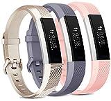 Vancle Pack de 3 correas compatibles con Fitbit Alta HR y Fitbit Alta, ajustables para Fitbit Alta HR/Fitbit Alta (oro/gris/rosa, L)