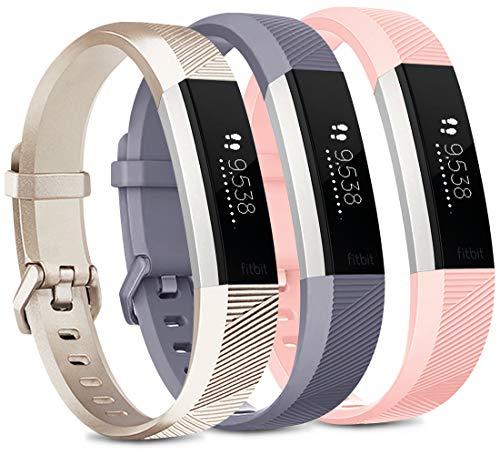 Vancle Set di 3 cinturini per Fitbit Alta HR e Fitbit Alta HR, regolabili, per Fitbit Alta HR, Fitbit Alta (oro/grigio/rosa, L)