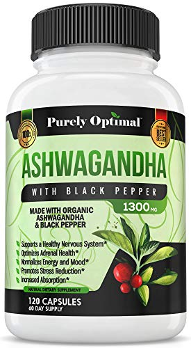 Premium Organic Ashwagandha Root Powder 1300 mg- Thyroid Support, Anxiety & Stress Relief, Adrenal Support, Adrenal Fatigue Supplement, Mood & Energy Enhancer -Black Pepper Extract 120 Veggie Capsules