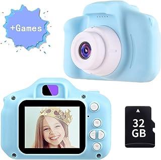 TekHome Juguetes Niños 3 Años Cámara de Fotos para Niños con Juegos 32GB Tarjeta SD y Acollador 1080P Cámara Digital Regalo Niño Niña Cumpleaños Infantil 4 5 6 7 8 9 10 Años Azul.