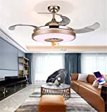 42' Indoor Bluetooth Music Play Ceiling Fan Light with Retractable Blades, Remote Control LED Light 3 Colors Switch 3-Speed Silent Motor Fan and Chandelier