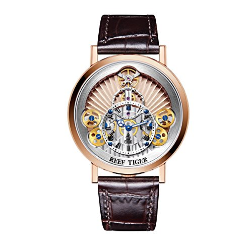REEF TIGER Herren Uhr analog Automatik mit Leder Armband RGA1958-PPS
