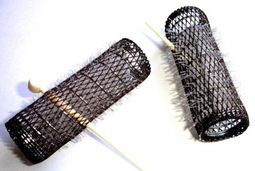 2 Pack HAIR STYLING BRUSH ROLLERS & PINS Hair Curlers 7/8' x 3' Bristles (12 Rollers)
