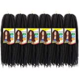 Afro Kinky Marley Braids Hair Extensions Kanekalon Synthetic Twist Crochet Braiding Hair 18 inch (18'6pieces, 1B#)