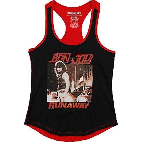 Bon Jovi Rock Band Runaway Camiseta sin Mangas con Ribete de Color Negro y Rojo para Mujer L