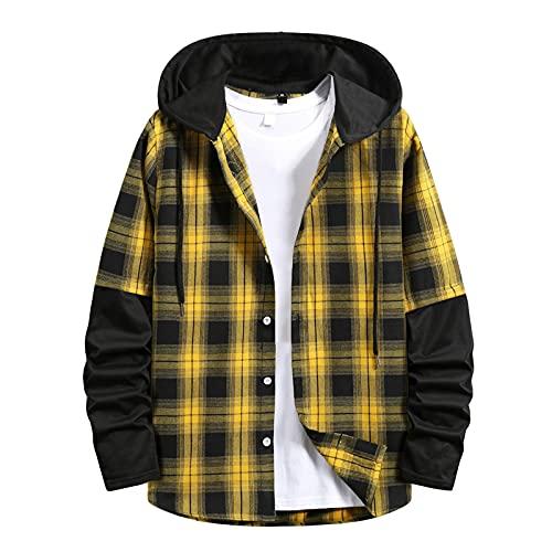 D-Rings Camisa térmica de franela para hombre, chaqueta de invierno, forro polar, forro interior protector, camisa de leñador, camisa de trabajo, chaqueta, abrigo de invierno, parka, amarillo, XXL