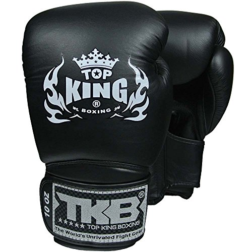 TOP KING Boxhandschuhe, Super Air, Leder, schwarz, Boxing Gloves, Muay Thai, Leder Size 10 Oz