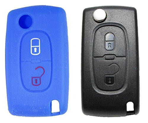 1 Coque pour clé de voiture – Peugeot / Citroën – 2 touches – Housse en silicone – Télécommande – Housse pour clé – Coque pour clé – Housse de protection – Clé rétractable – Boîtier – Housse – Coque en silicone