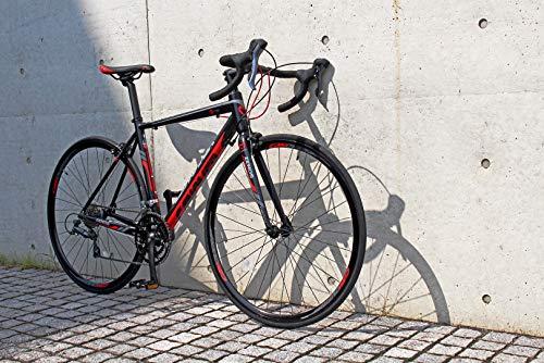 カノーバーロードバイクアルミフレームシマノ16段変速ZENOS(ゼノス)(2×8段)デュアルコントロールレバーシマノClaris(クラリス)採用LEDライト標準装備重量10.2Kgレッド/ブラック700×28C