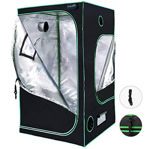 Quictent SGS Approved Eco-Friendly Reflective Mylar Hydroponic Grow Tent with Heavy Duty Anti-Burst Zipper and Waterproof Floor Tray for Indoor Plant Growing (48'x48'x78')