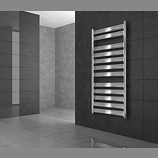 ECD Germany Radiador toallero de baño DHK Tharr - 500 x 500 mm - Cromo - Radiador calentador y secador de toallas - Radiador de pared - Radiador calefactor de baño - Diseño moderno - No eléctrico