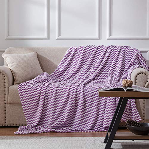 NexHome Flannel Fleece Blanket Throw Size,Lightweight Super Soft Cozy Blanket Microfiber for Living Room/Bedroom All Season,(Purple,Throw 50'X60')