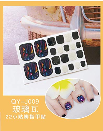 BGPOM Foot Stickers Nail Stickers Nail Stickers Fully Waterproof Lasting 3D Toenail Stickers Patch 10 Sheets/Set,Glazed Tile (QY-J009)