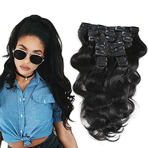 """FU SHEN Body Wave Clip ins Human Hair Extensions Unprocessed Brazilian Virgin Hair Wavy Clip In Hair Extensions for African American Women Natural Color 10 Pcs/set 120g-12"""" …"""