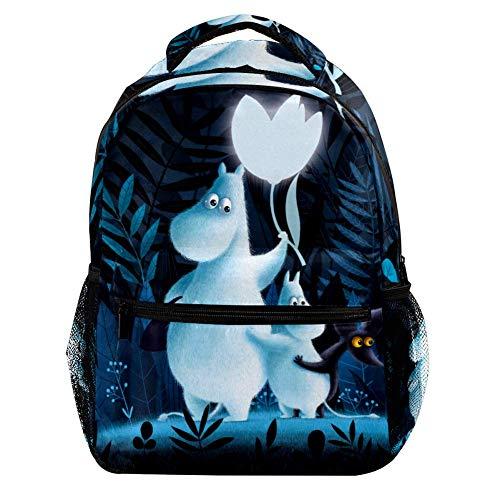 DJROWW Mumin-Rucksack, lässig, Sport, Tagesrucksack, Reise, Schultasche mit mehreren Taschen für Herren und Damen, College