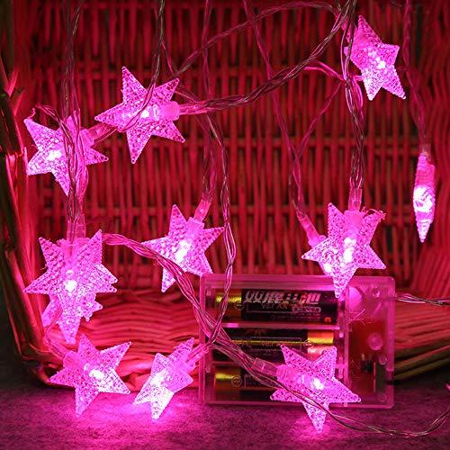 Lichterkette LED Sterne Licht 2M 10 LEDs Crystal Clear Sternen Lichterkette Innen Deko, Batterienbetriebene, Weihnachtsbeleuchtung für Weihnachten Hochzeit Party Weihnachtsbaum (pink)