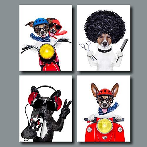 sanzangtang Rahmenlose Malerei amerikanische Hundedekoration Tiermalerei Kinderhundezimmer Moderne minimalistische Leinwand Hauptdekoration artAY4865 40X60cmx4