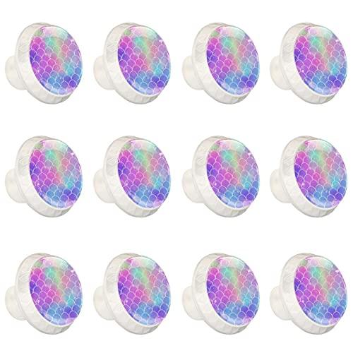 rodde Estilo magnífico gabinete de cerámica perillas Tire manijas para Muebles Armario cajón Armario Cocina baño,Sirena Kawaii Scales de Arco Iris Fish Fantasy Fantasy