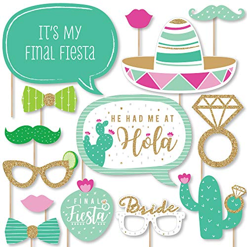 Big Dot of Happiness Final Fiesta – Last Fiesta Bachelorette Party Photo Booth Props Kit – 20 Count
