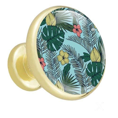 Redondo Dorado pomos Hojas Flores para muebles de habitación infantil, para habitación infantil, armarios, cajones, baúles (4pcs) 32mm