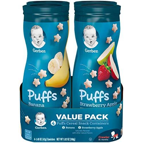 Gerber Puffs Cereal Snack, Banana and Strawberry Apple, 4 Count