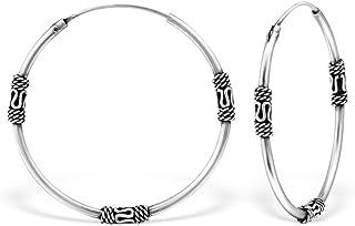 Les Plaisirs de Stella Bali - Pendientes de aro de plata 925/000 rodiada, diseño étnico, diámetro 30mm