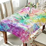 Rectangle Tablecloth Watercolor Rainbow Splash Tie Dye Pattern Washable Spill Proof Table Cloth Dust-Proof Table Cover for Kitchen Dining Room Party Tablecovers Spread Home Decoration 54 x 72 Inches