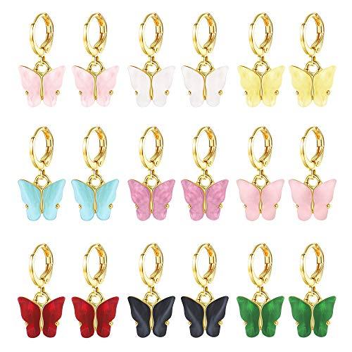 SAILIMUE 9 pares de pendientes de mariposa para mujer, diseño de mariposa, acrílico, diseño de mariposa, color fantasía