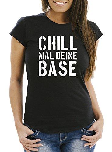 Preisvergleich Produktbild MoonWorks Lustiges Damen T-Shirt Chill mal Deine Base Slim Fit schwarz L