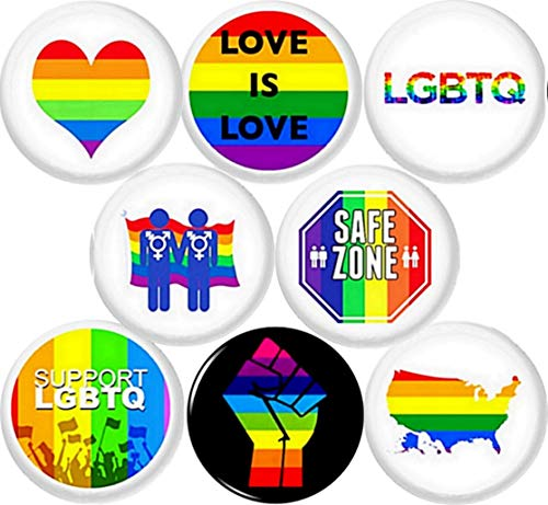 LGBTQ 8 New 1' inch (25mm) Buttons pins Badge Love is Safe Zone Gay Lesbian Trans bi Support …