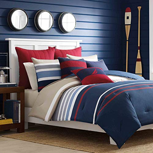 Nautica | Bradford Collection | 100% Cotton Cozy & Soft, Durable & Breathable Striped Reversible Comforter Matching Shams, 3-Piece Bedding Set, Full/Queen, Navy/Khaki