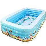 Liangzi Planschbecken Aufblasbarer Pool Faltbarer Kinder-Planschbecken mit Luftpumpe Außenpool für Garten, Garten, Sommersicherheit Rutschfester Außenpool Bildungsgeschenk für Kinder