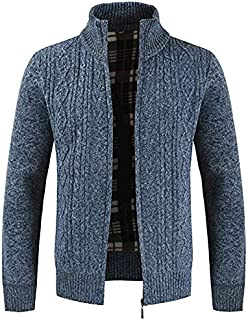 JJK Mens Knitted Cardigan, Thick Sweater Full Zip Wool Stand Collar Cardigans Coat Fleece Lined Long Sleeve Cardigan,Blue,...