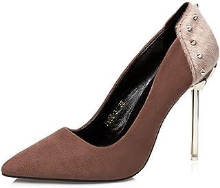 [ヤク] スエード パンプス レディース 痛くない 靴 ハイヒール 美脚 走れる ポインテッドトゥ 黒 10cmヒール ピンヒール 脱げない 結婚式 パーティー パンプス 大きいサイズ 大人 フォーマル オフィス 通勤 仕事 靴 黒 24cm 24.5cm