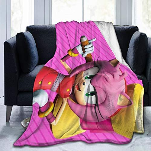 Sonic Boom-Amy Rose Anime Warm Soft Novelty Ultra-Soft Micro Fleece Throw Blanket for Living Room/Bedroom 50'x40'