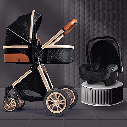 3 en 1 cochecitos para bebés, carro para bebés portátiles, cochecitos de cochecito plegable, implementación bidireccional, ruedas de amortiguación, colchón con bolsa de mamá y cubierta de lluvia YZPTD