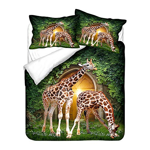 BHFDCR Bettbezug Bettwäsche Set 3 Teilig Giraffe gelb 3D Digital Print 135 x 200 cm Weiche Bettwaren aus Mikrofaser Mit Reißverschluss 1 Bettbezug + 2 Kissenbezug, Schlafkomfort