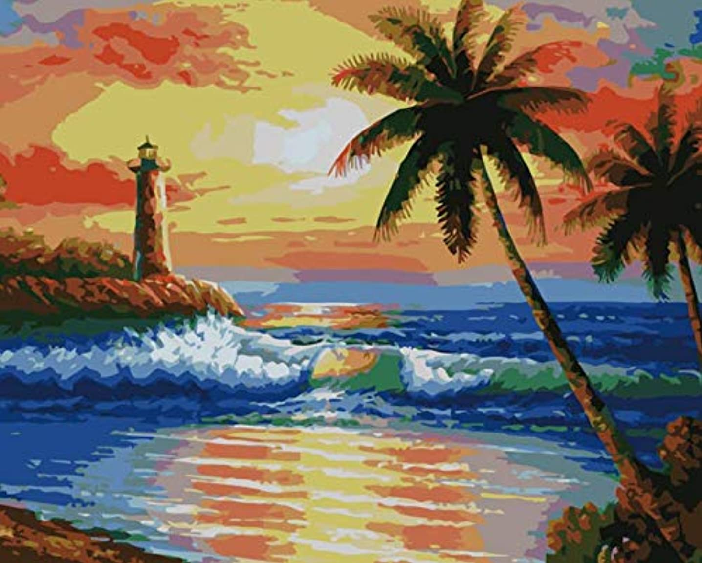 SuperDecor DIY Oil Painting Paint by Numbers kit for Adults Kids Beginner 16x20 Inch (Sunset 2)