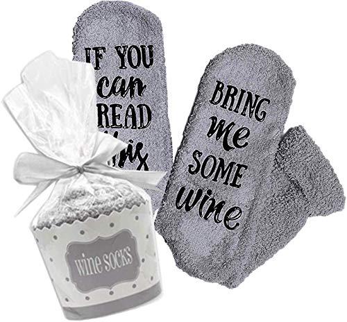 Lustige Socken für Frauen Mädchen, Wenn Sie Dies lesen können, bringen Sie Mir etwas Wein Bequeme Socken Geschenke für Liebhaber, Mutter, Frau oder Freund (Grau)