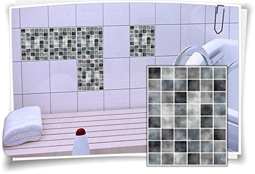 Medianlux Fliesen-Aufkleber Fliesen-Bild Fliesen-Imitat Mosaik Grau Bad WC Deko Dekor Badezimmer Kachel Folie Digitaldruck, 4 Stück, 15x20cm