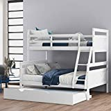 Harper & Bright Designs Bunk Beds Twin Over Full Size Solid Wood Bunk Beds for Kids with Built-in Ladder, No Box Spring Required (White (with Trundle))