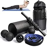 Renranring 6 in1 Foam Roller Set -High Density Roller Foam,Muscle Roller Stick,2 Plantar Fasciitis Ball,Stretching Strap,Peanut Massage Ball for Physical Therapy & Exercise,Back Pain,Deep Tissue