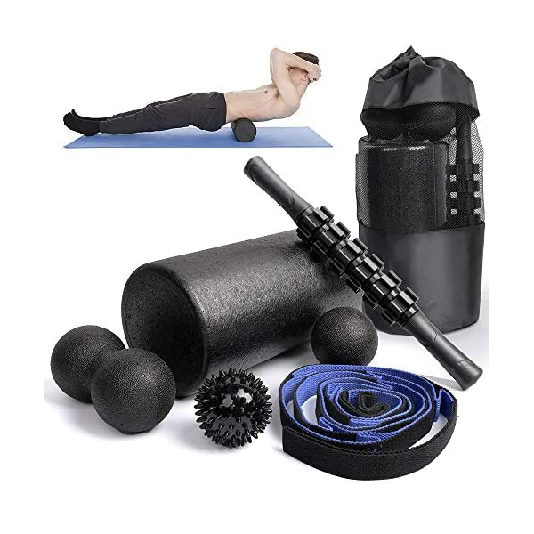 6 in1 Foam Roller Set -High Density Roller Foam,Muscle Roller Stick,2 Plantar Fasciitis...