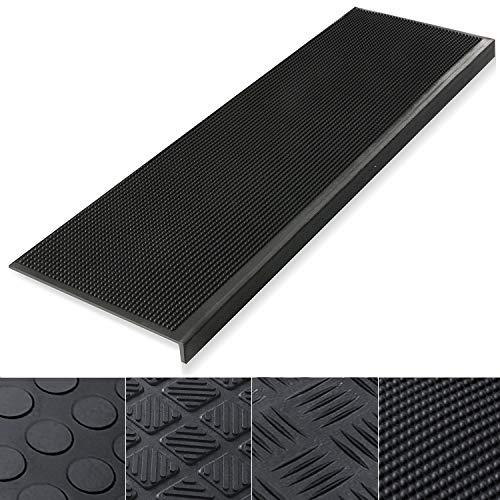 Etm rutschfeste Gummi-Stufenmatten,0,8cm dick, 100% wetterfest für Außenbereiche, sehr gute Haftung, 5 Stück,Santiago, schwarz