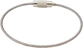 Leen4You Stainless Cable Keyring Wire Keychain Cable Loops with Keyring Twist Barrel Colour Silver(Pack of 10)