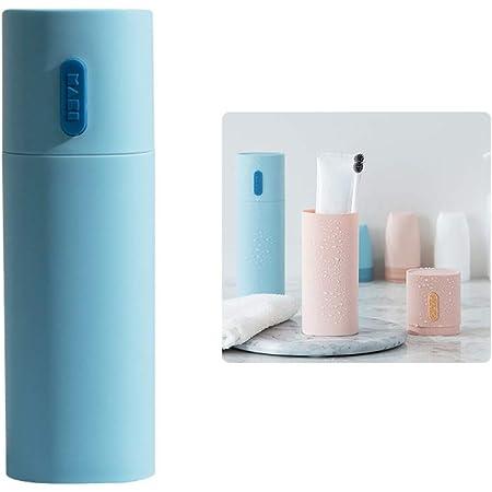 WhatUneed - Portaspazzolino da viaggio, porta dentifricio portatile, porta spazzolini da denti da campeggio, in plastica, per coppia di accessori da bagno (blu)