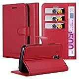 Cadorabo Hülle für WIKO Sunny 3 Mini - Hülle in Karmin ROT - Handyhülle mit Kartenfach & Standfunktion - Case Cover Schutzhülle Etui Tasche Book Klapp Style