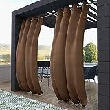 132x215cm marrón Cortinas para Exteriores con Ojales,Resistentes al Viento, Resistentes al Agua, Resistentes a la harina, para jardín, balcón, casa de Playa, vestíbulo, Cabana